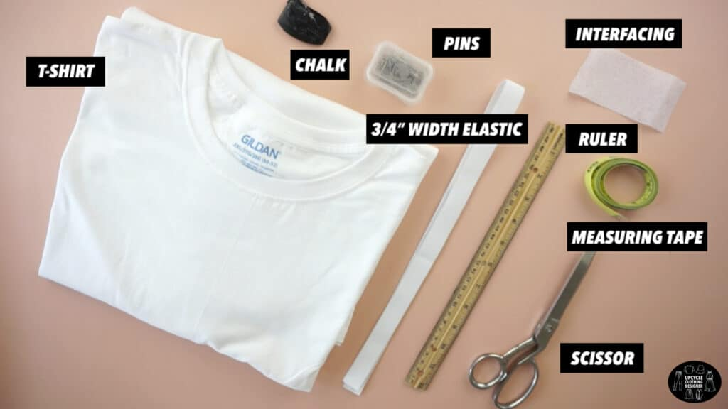 Materials to make a side slit mini skirt from a t-shirt