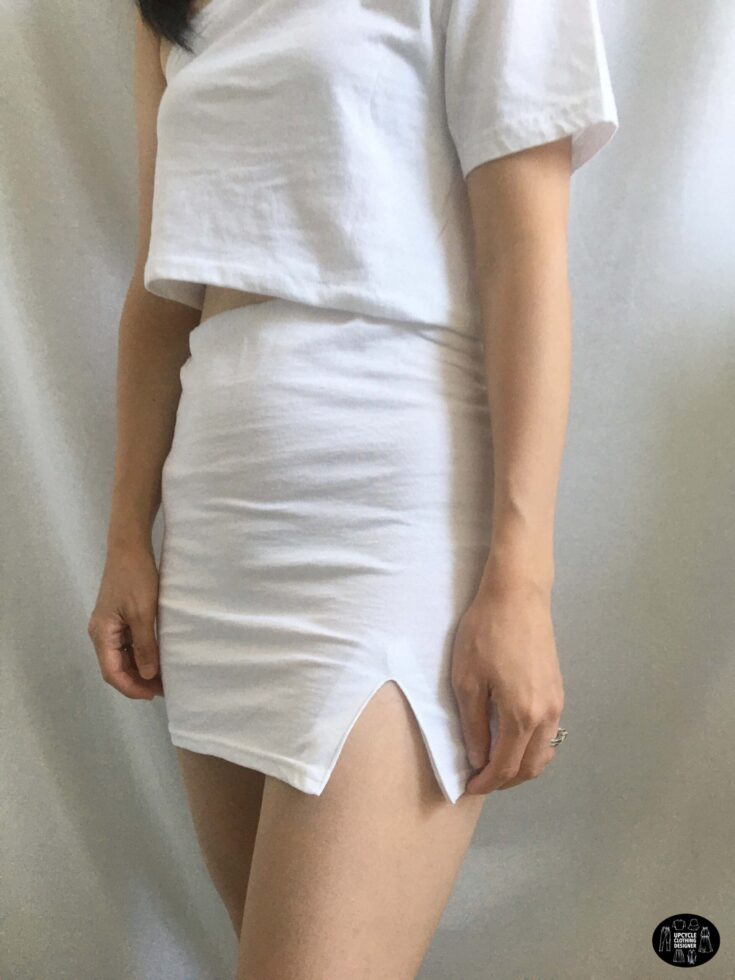Sideview of the side slit mini skirt from a t-shirt