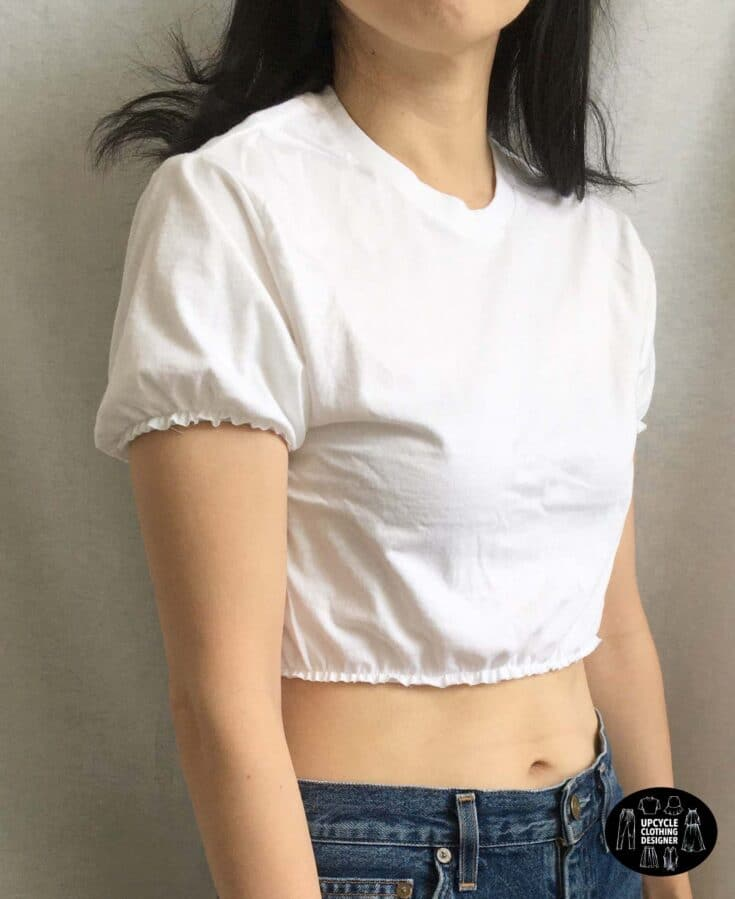 sideview of the crop top from t-shirt