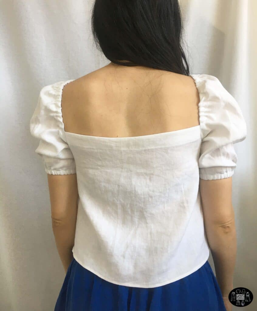 Square neck tie front blouse back view