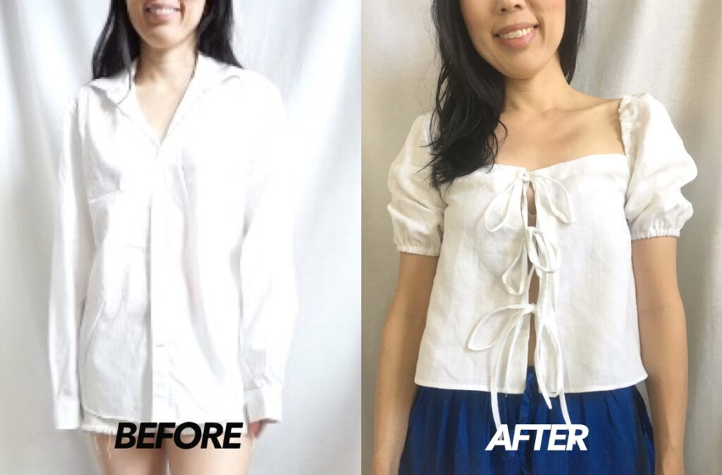 Square neck tie front blouse from a men's shirt before and after