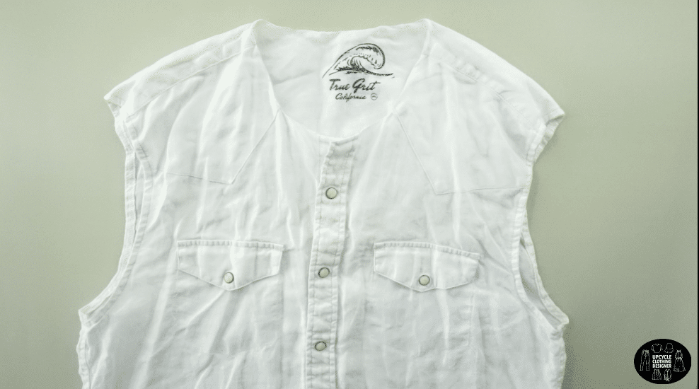 Cut off the neckband, collar and sleeves from the men's shirt