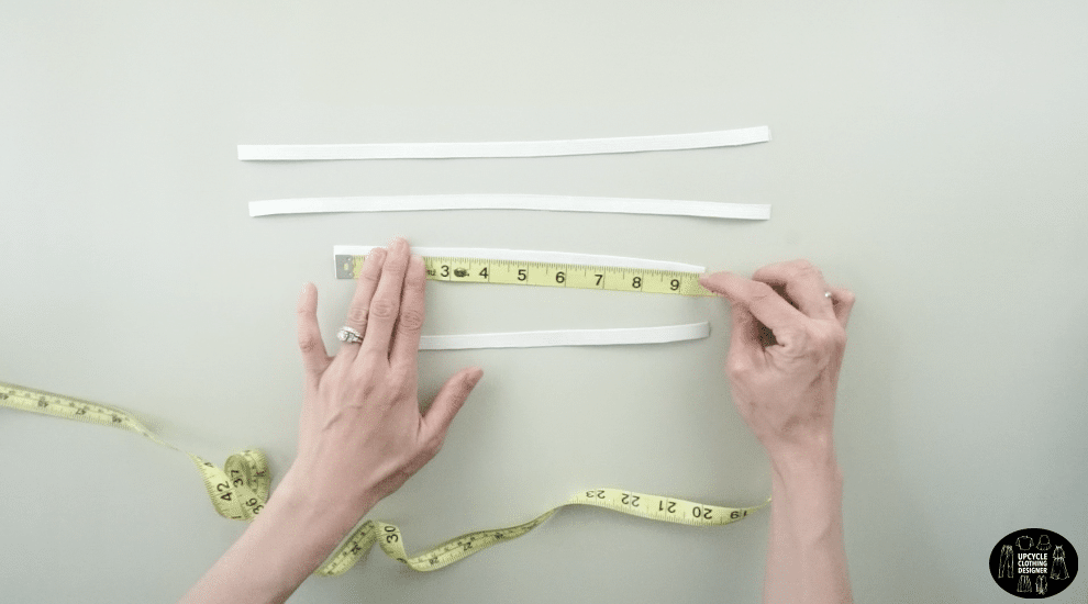"""Cut two 13½"""" long elastic bands for the armhole and two 9½"""" long elastic bands for the sleeve opening"""