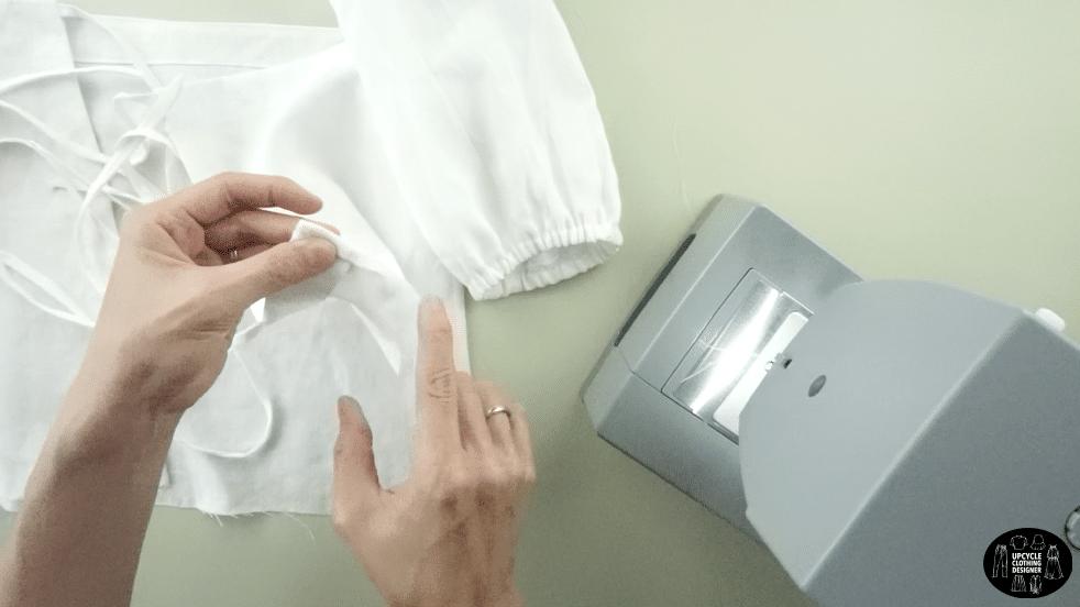 "¼"" fold and hem the bottom opening"
