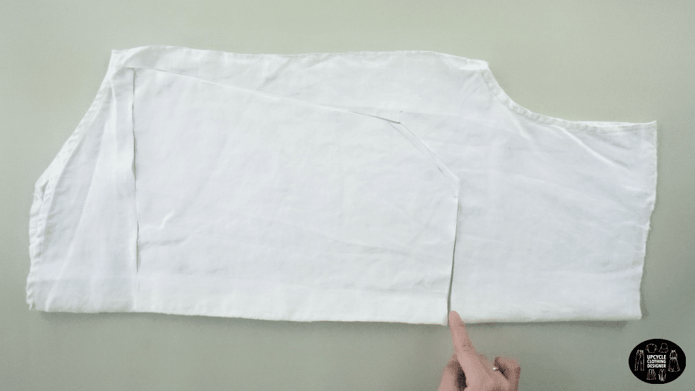 Copy the square neck blouse pattern onto the back of the original men's shirt