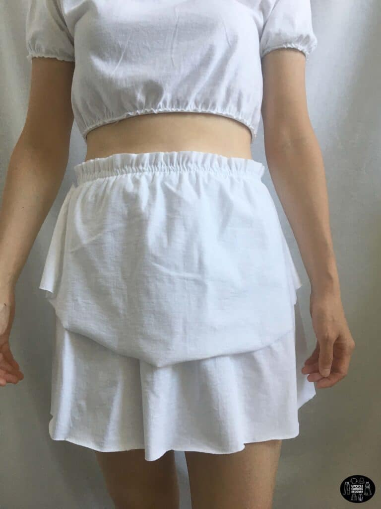 Front view of the tiered ruffle mini skirt from a t-shirt
