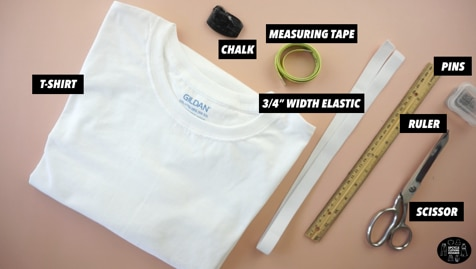 Materials to make a tiered ruffle mini skirt from t-shirt