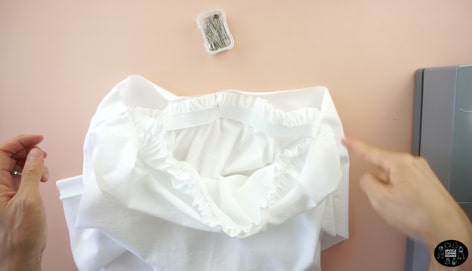 Pin the ruffled skirt to the tiered ruffle skirt piece