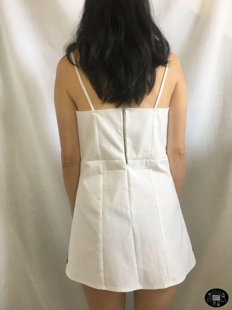 Back view of the cherry dress from old jeans