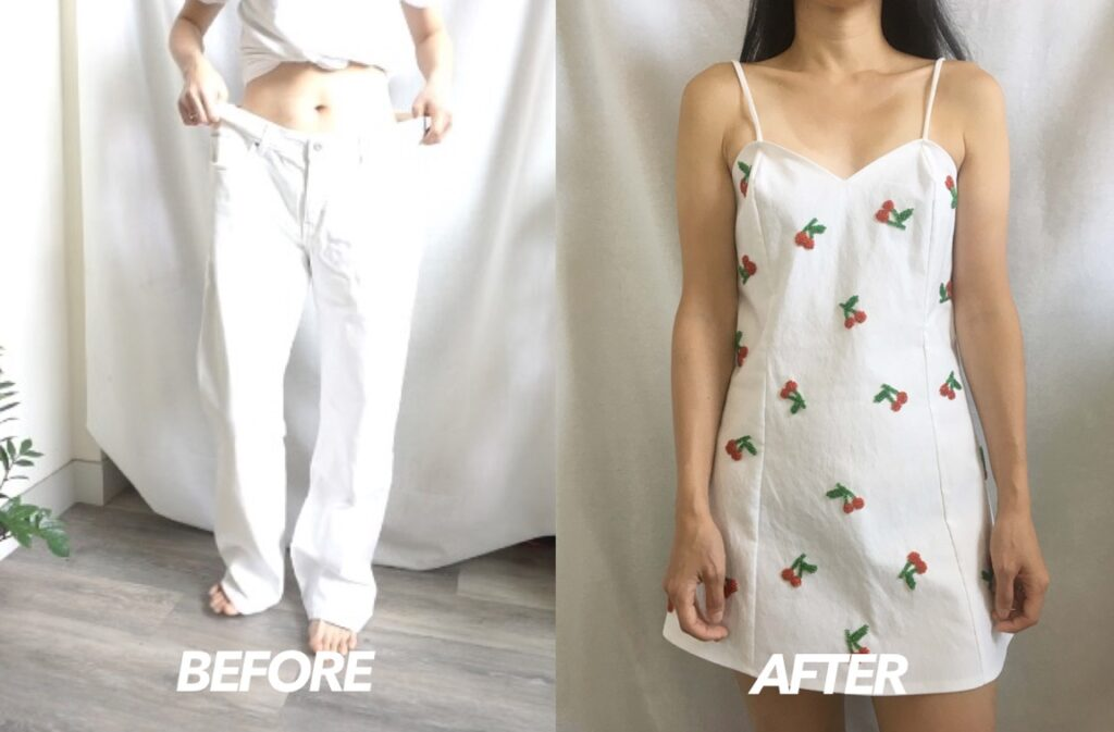 Cherry dress from old jeans before and after