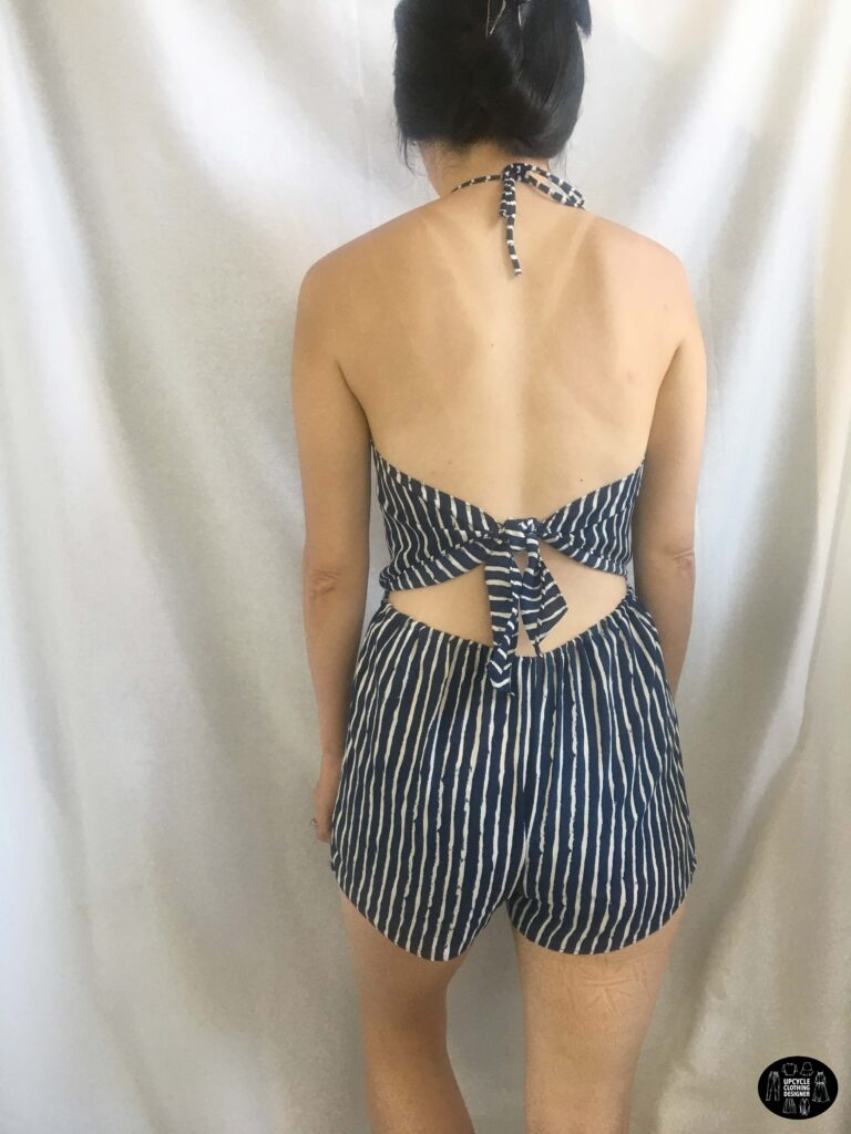 Back view of the halter romper from dress