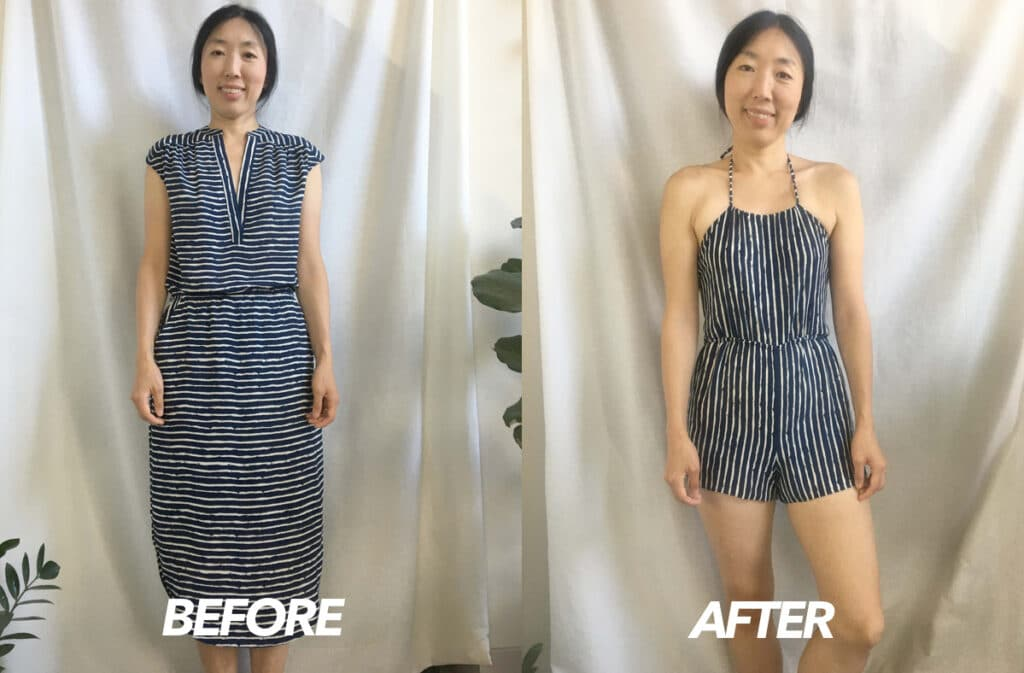 Halter romper from dress before and after