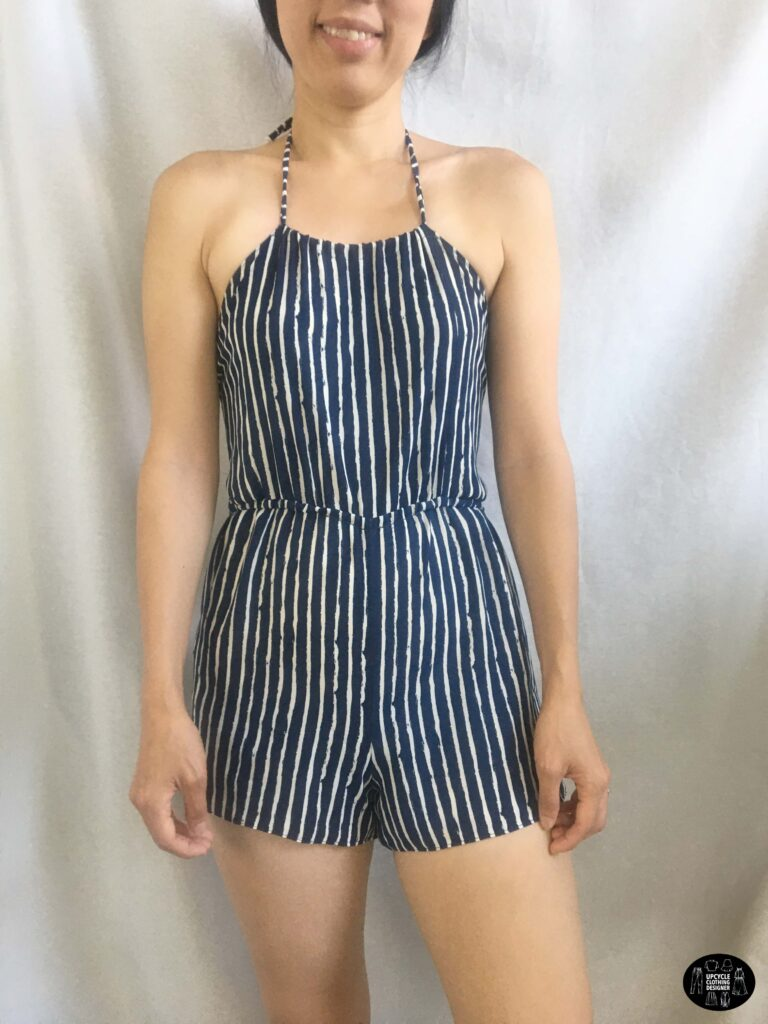 Front view of the halter romper from dress