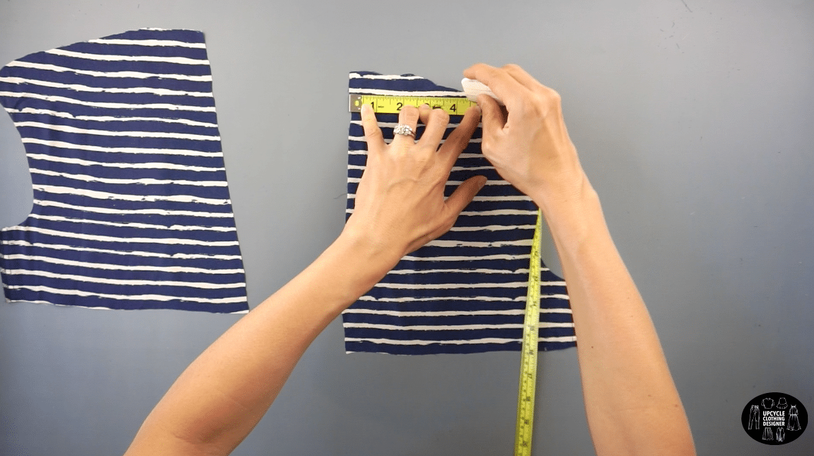 """Measure 5"""" on the opposite side of the back tie piece."""