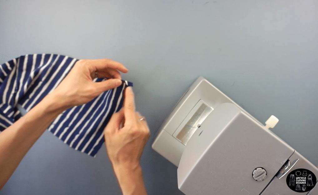 Hem the edges of the back tie straps.
