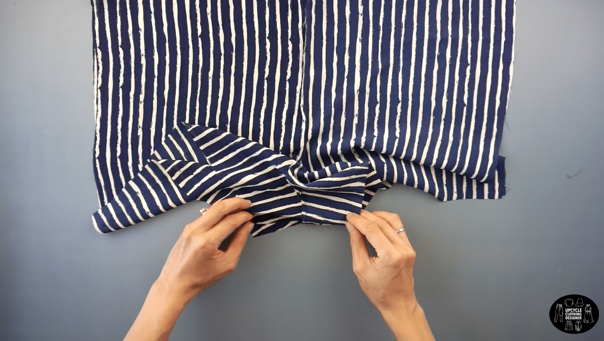 To join the front and back of the shorts, sew along the crotch seam; and also both side seams with the right side facing together.