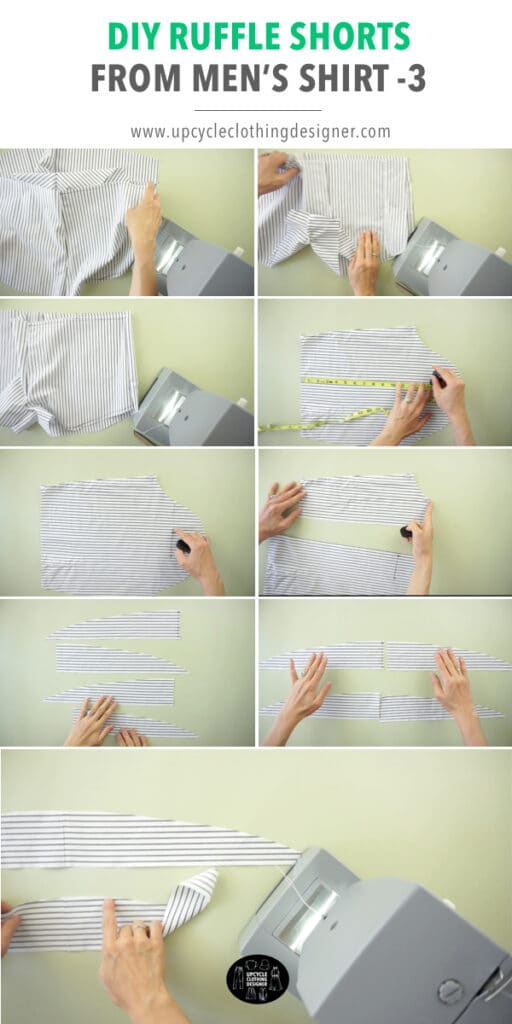 How to make ruffles for DIY shorts.