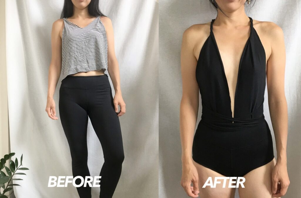 Infinity swimsuit from leggings before and after