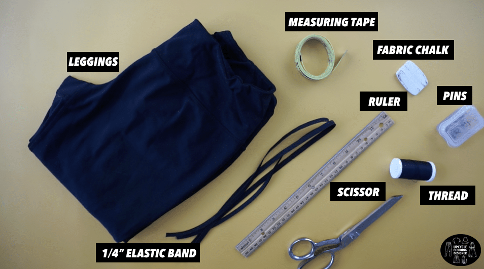 Materials to make an infinity swimsuit from leggings