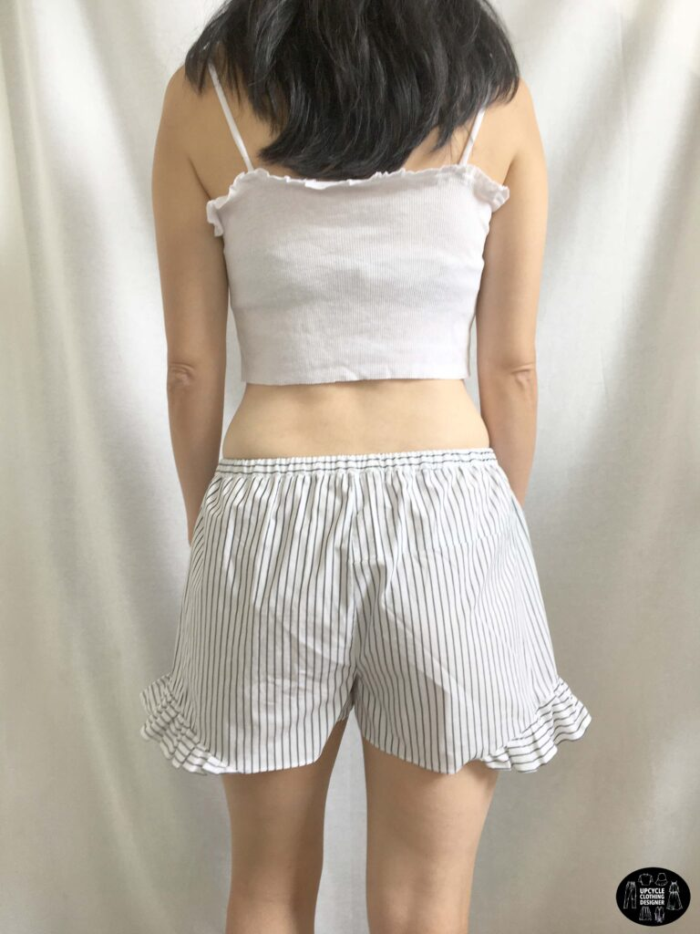 Back view of the ruffle shorts from men's dress shirt.