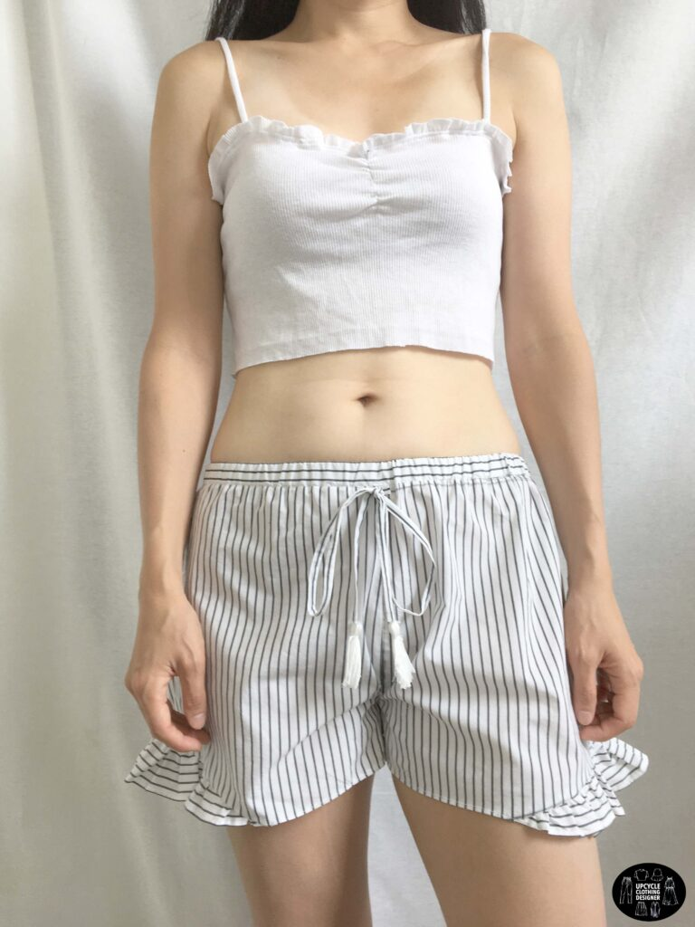 Front view of the ruffle shorts from men's dress shirt.