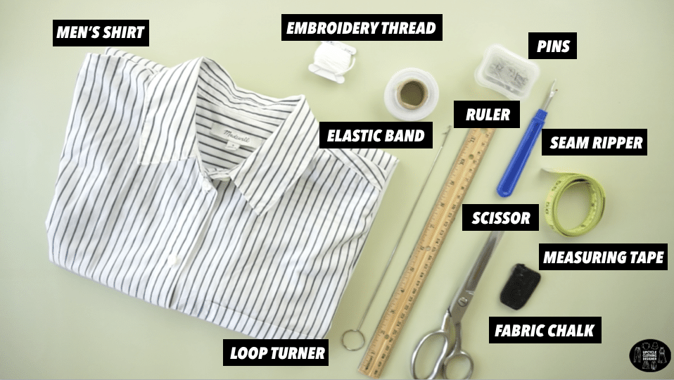 Materials to make ruffle shorts from men's dress shirt.