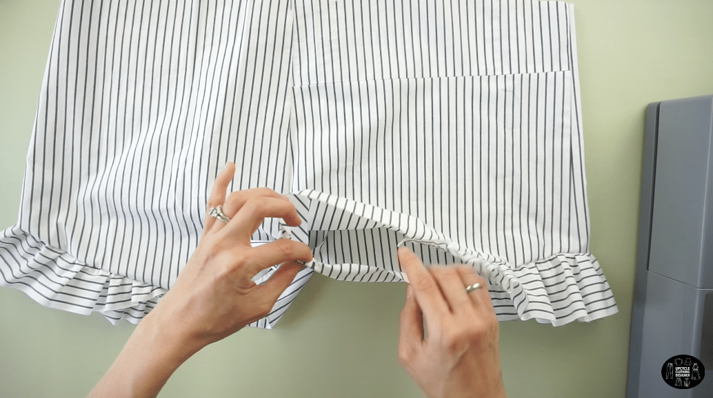 "Double fold ¼"" and hem the bottom of the ruffles and leg opening."