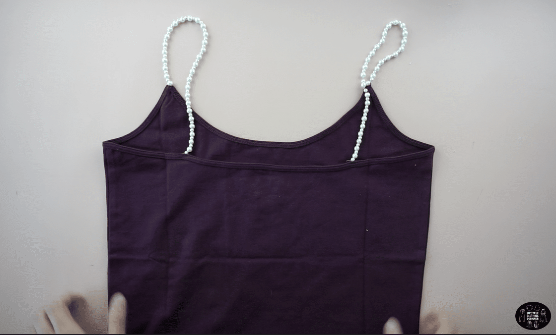 Finished DIY pearl strap cami top.