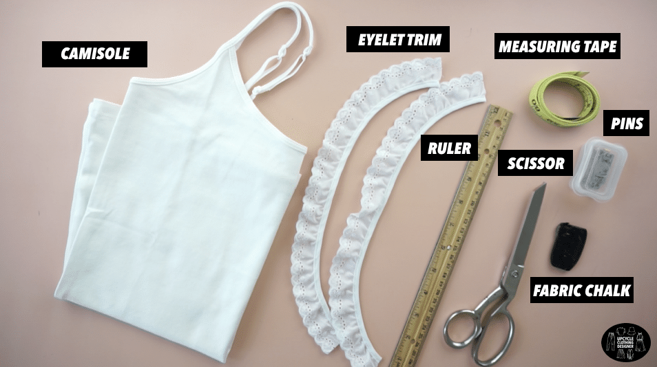 Materials to make a peplum cami top.