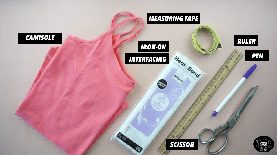 Materials to make a scallop hem camisole top