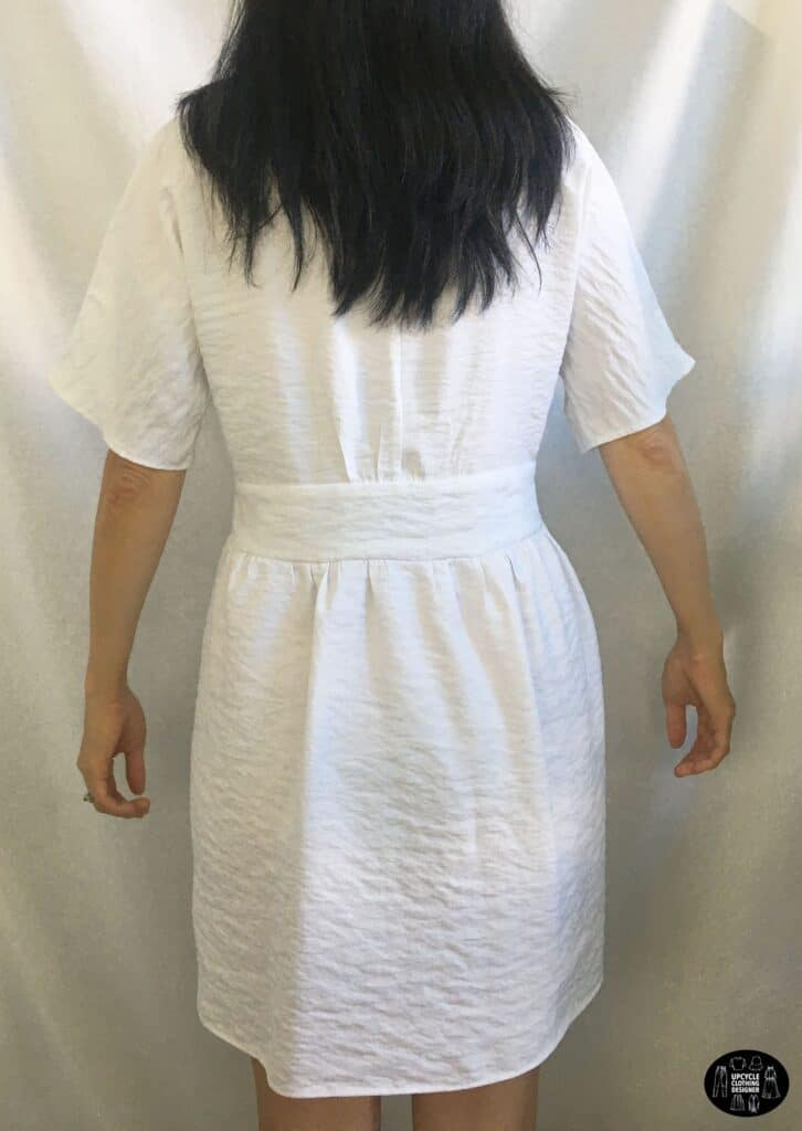 Back view of the DIY button front kimono dress