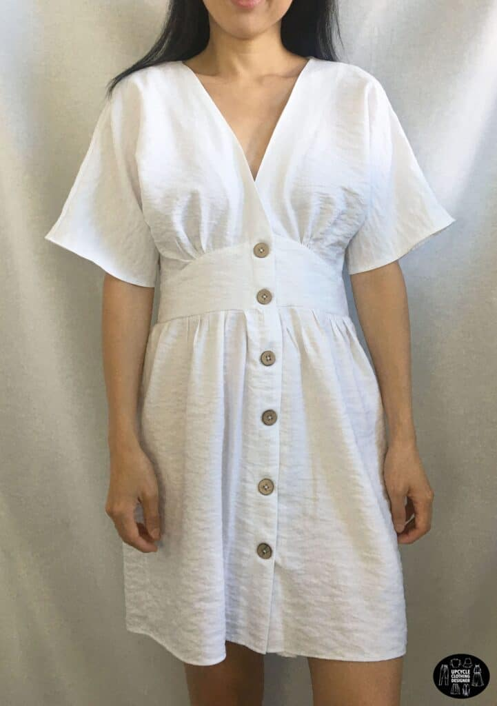 Front view of the DIY button front kimono dress
