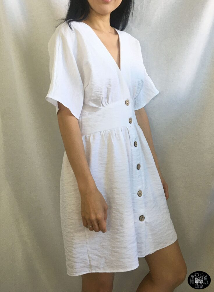 Sideview of the DIY button front kimono dress