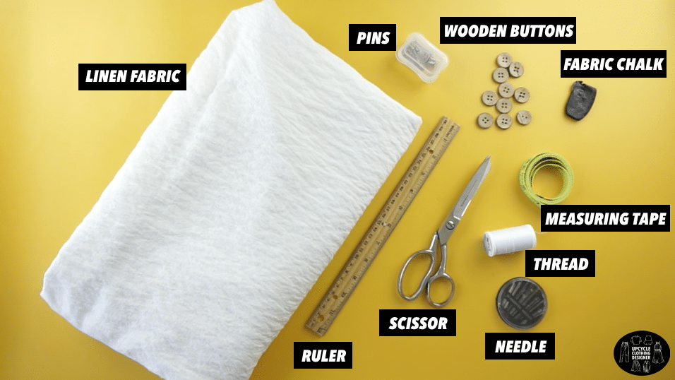 Materials to make a diy kimono dress with button front closure.