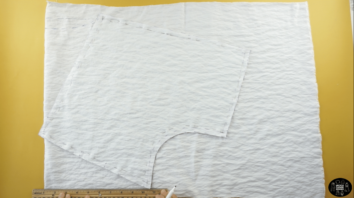"""To measure the back neckline, drop the neck opening 1"""", and draw a smooth curved line."""