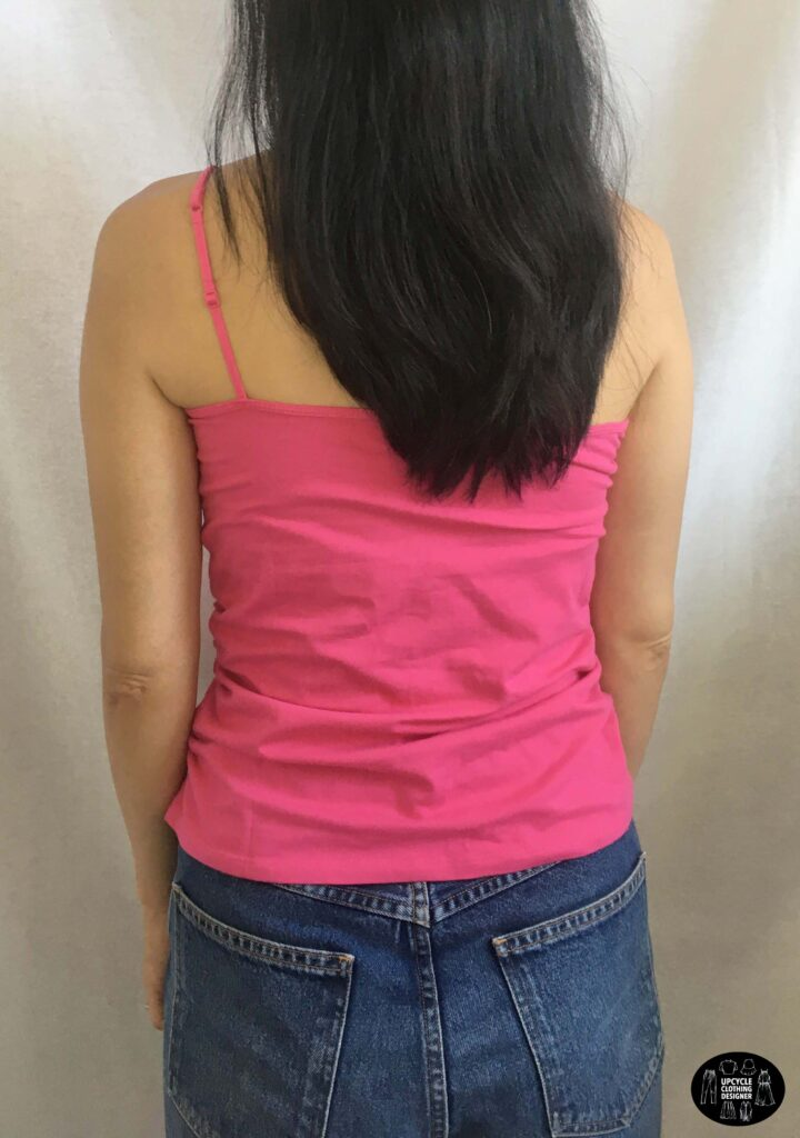 Back view of the diy one shoulder shirred camisole top