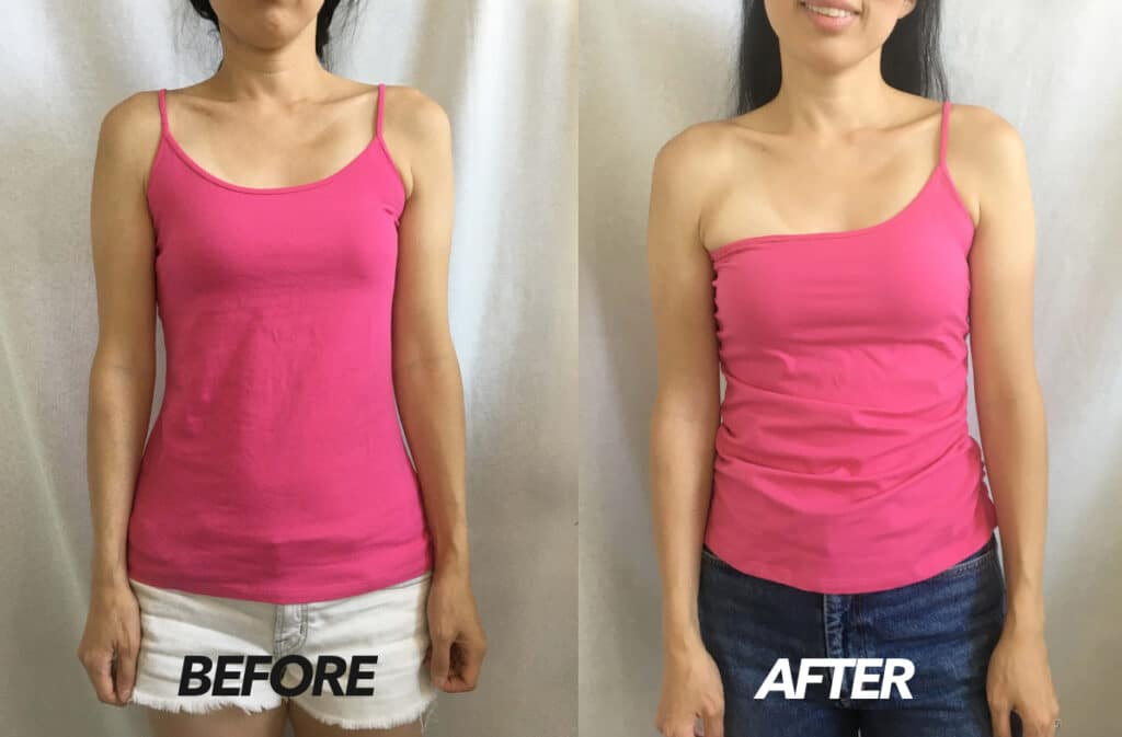 DIY one shoulder shirred camisole top before and after