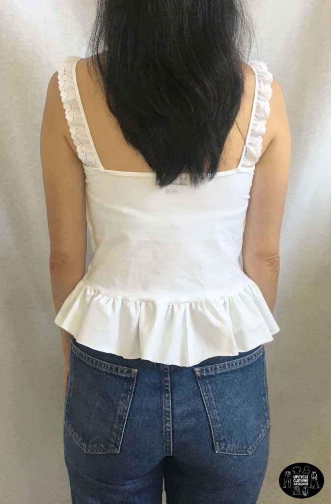 Back view of the diy peplum camisole top