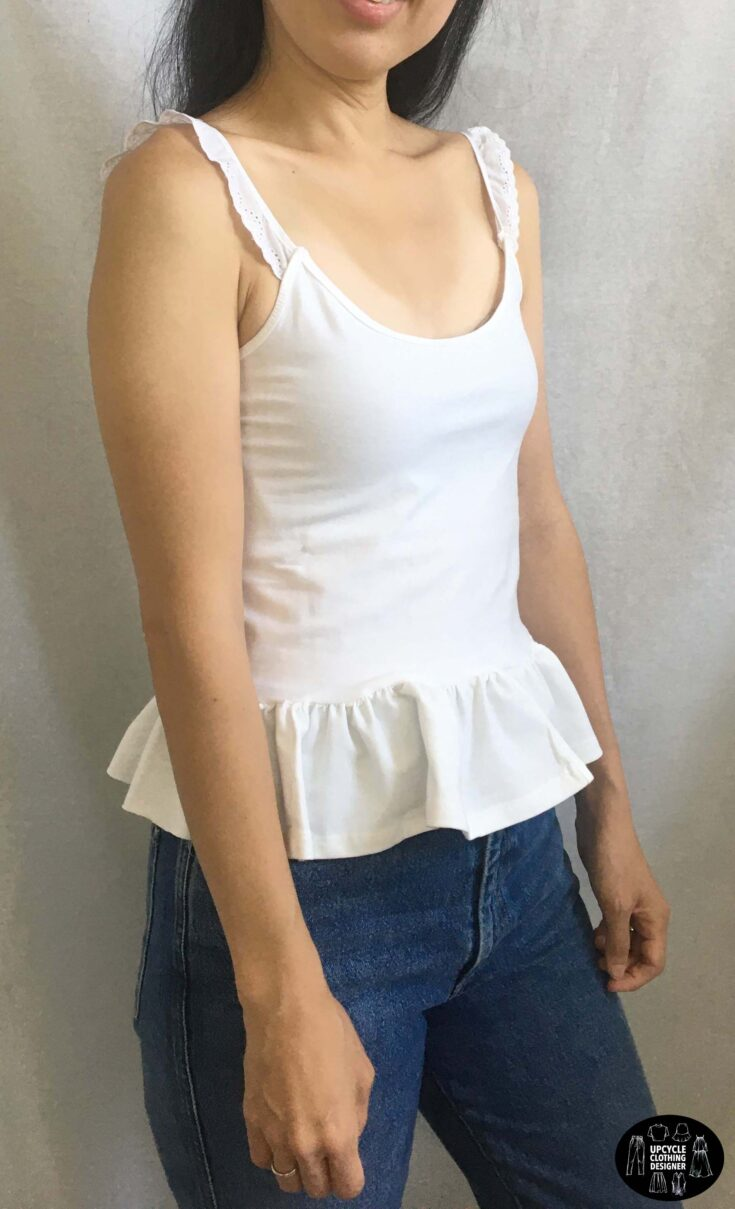 Sideview of the diy peplum camisole top