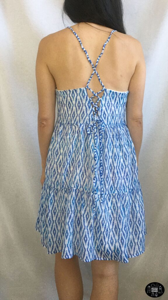 Back view of the DIY tiered lace-up babydoll dress
