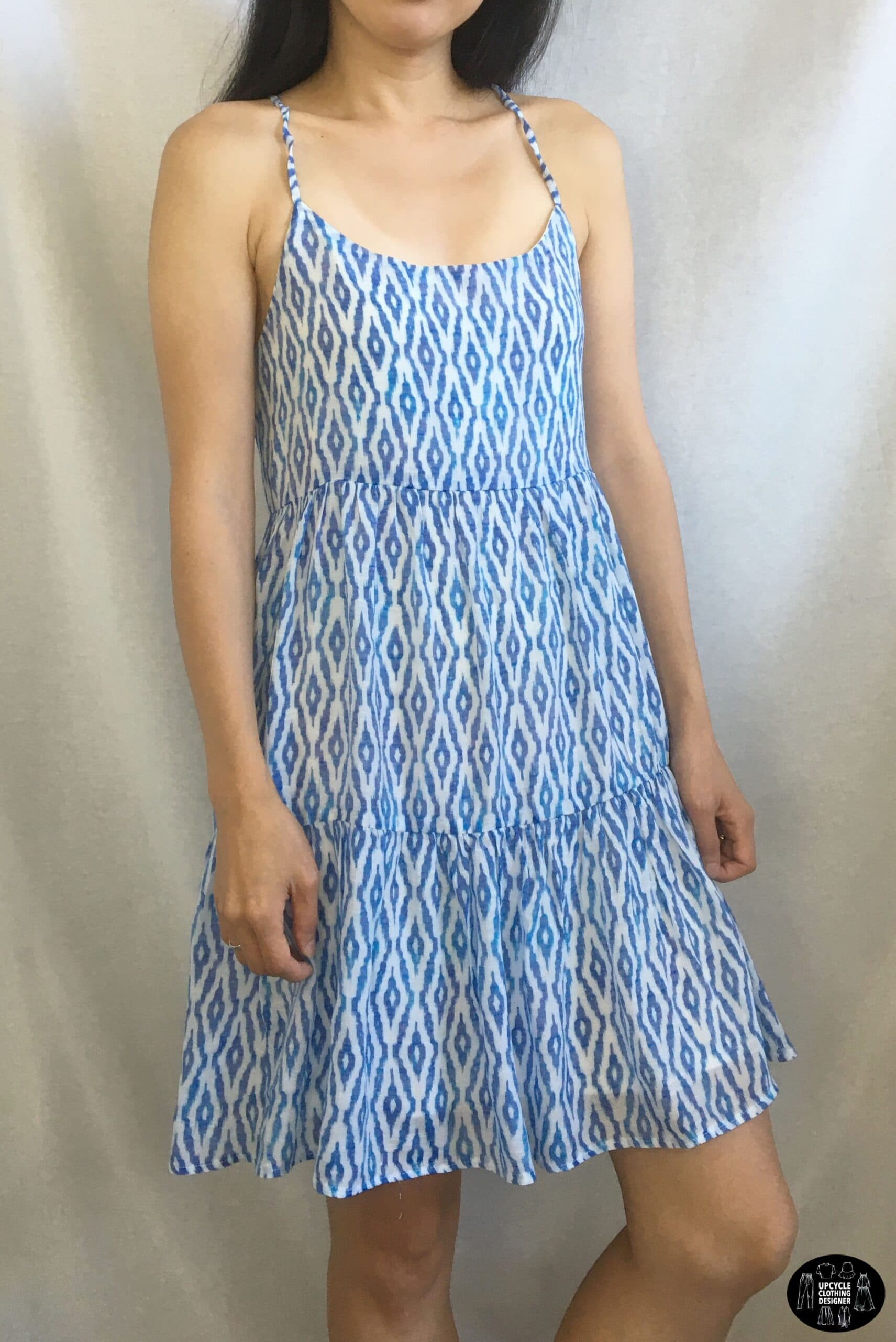 Sideview of the DIY tiered lace-up babydoll dress