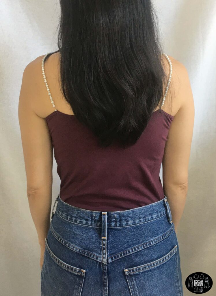 Back view of the no sew pearl strap camisole top