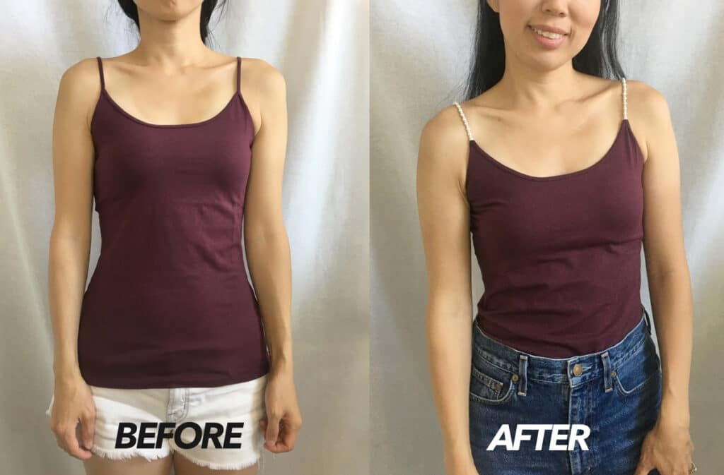 No sew pearl strap camisole top before and after