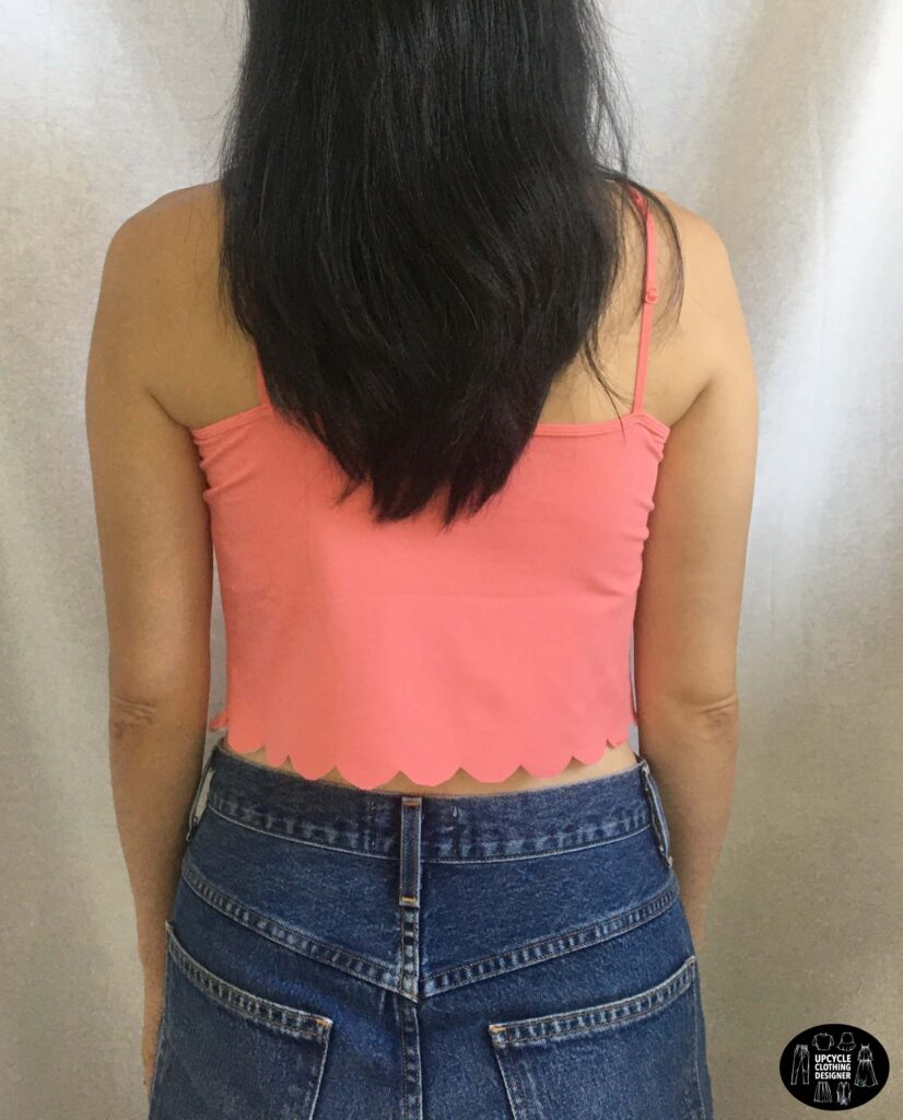 Back view of the no sew scallop hem camisole top