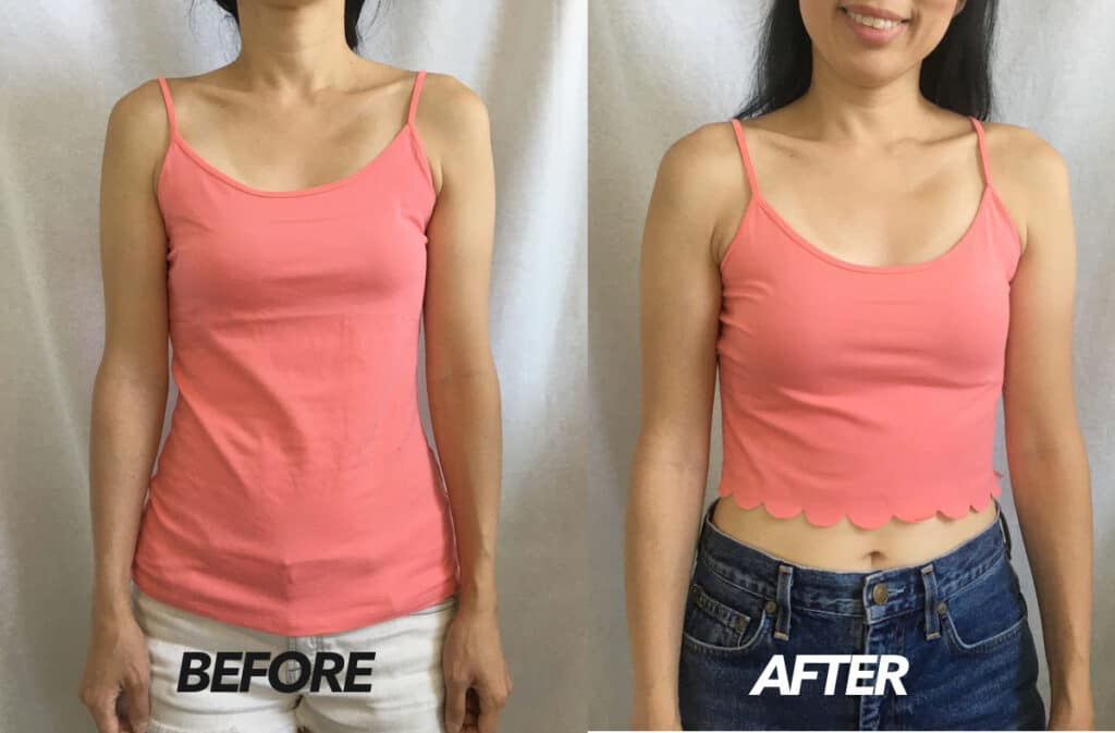 No sew scallop hem camisole top before and after