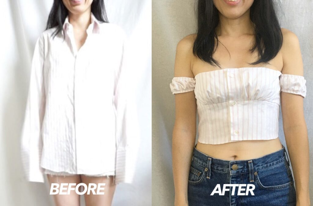 Off the shoulder top from men's shirt before and after.