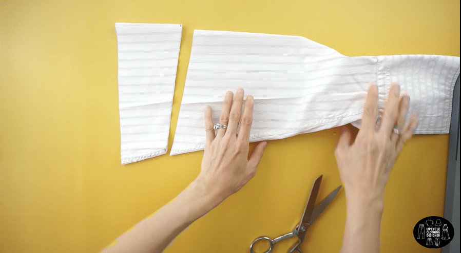 Use the original sleeves from the dress shirt to make the mini puff sleeves.