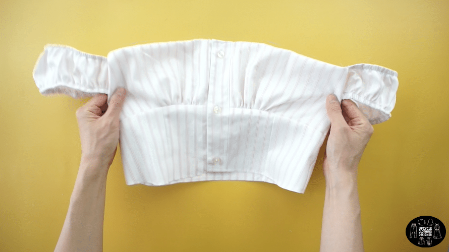 Finished off the shoulder top from men's shirt