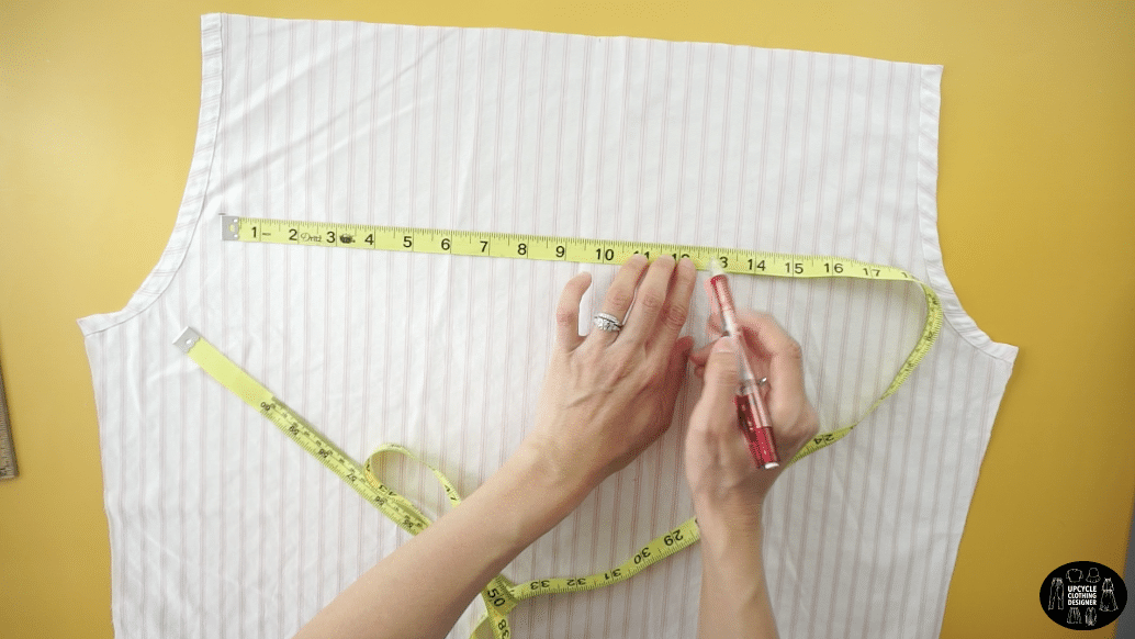 """To make the bust pieces, use the back piece of the original men's shirt.Measure 9½"""" across the top, 5"""" down the side, 12½"""" across the bottom and 3"""" up on the opposite side."""