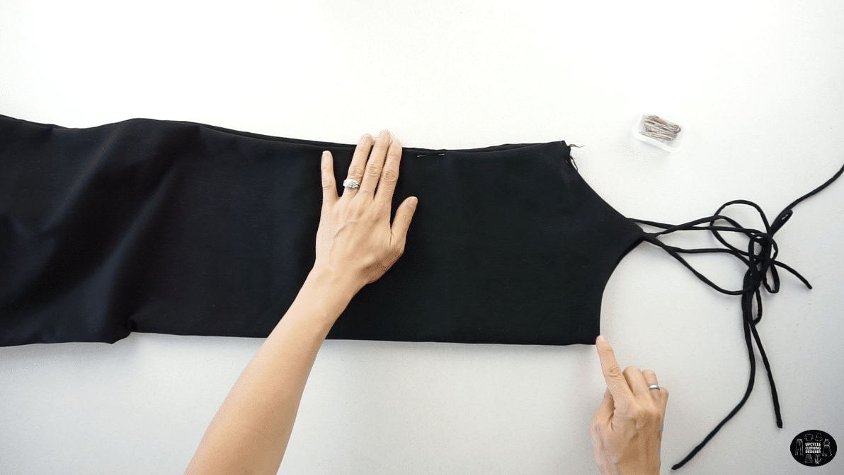 To make the front top bodice, copy the babydoll silhouette of a basic camisole top or slip dress.